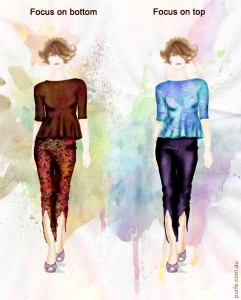 fashion illustration of women wearing theirs peplum and pants outfits with focal point on top and bottom respectively