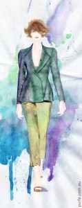 fashion illustration of woman wearing pants with long peplum jacket