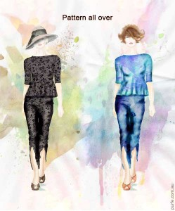 fashion illustration of women wearing patterned  peplum and pants outfit