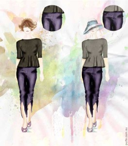 fashion illustration demonstrated two identical women one of them wearing pants with side fastening the other with front one