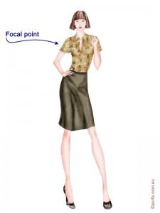 fashion illustration of woman wearing floral blouse and plain brown skirt