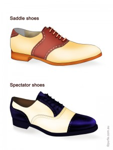 Fashion illustration showa difference between saddle shoes and spectator shoes