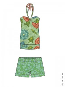 fashion illustration of top and shorts with different scaled floral patterns