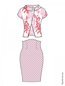 fashion illustration of floral jacket and polka dot skirt