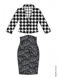 fashion illustration of high contrast hounds tooth jacket and low contrast floral skirt