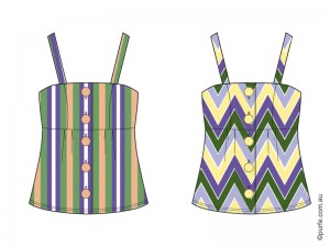 fashion illustration of two tops of the same design with different patterns