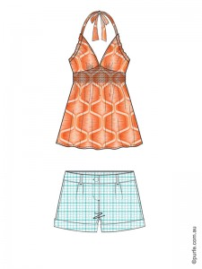 fashion illustration of orange top and light blue shorts