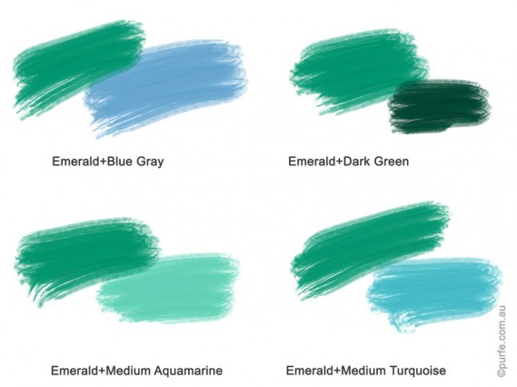 Colour swatches of Emerald with different shades of blue and green