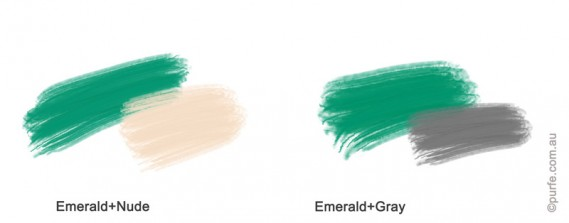 Colour swatches of Emerald with nude and grey