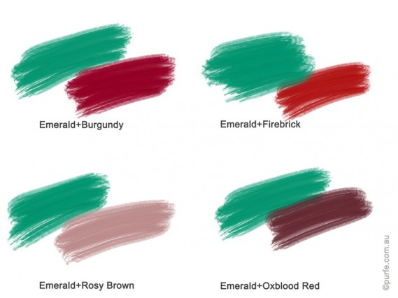 Colour swatches of Emerald with Burgundy, Firebrick, Oxblood Red, Rosy Brown