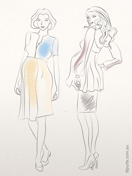 vector fashion illustration of two pregnant woman one of them wearing dress and denim jacket, and other sheer loose blouse and tight skirt