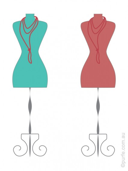 Illustration of the same red necklace on contrasting and analogous backgrounds