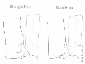 Illustration of pants with straight and slanted hems