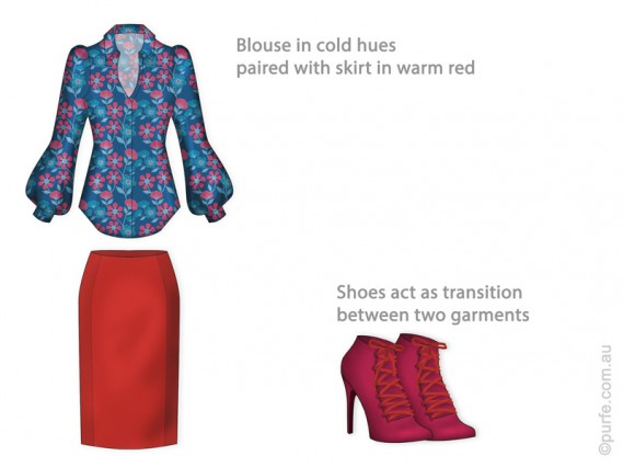 Dress shirt in cold hues paired with warm red skirt.
