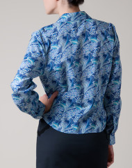 Blue blouse, office blouse, drapes, pasley, novelty print blouse, floral blouse
