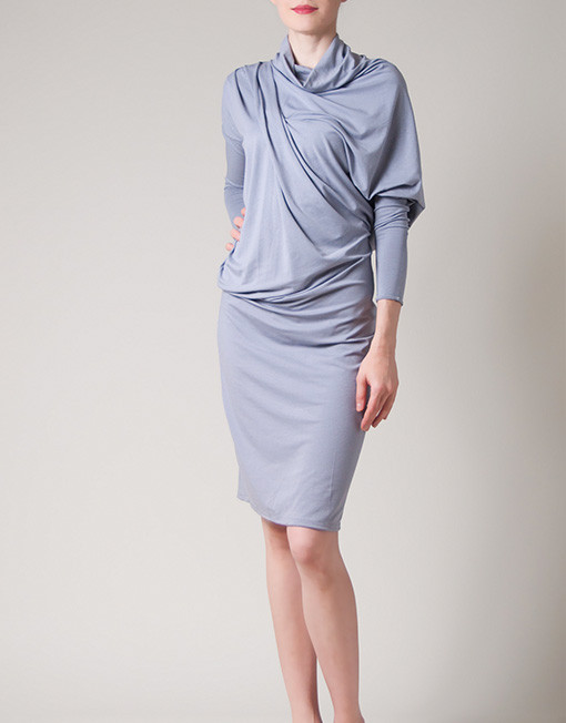 grey draped dress, midi dress, drapesб one of-a-kind