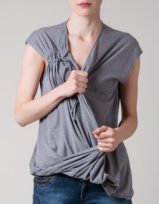 Oversized Grey Top loose fit draped front