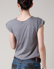top, cropped top, summer top, grey, drape, asymmetrical drape, natural fabric, 100%cotton
