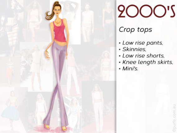 Fashion illustration How to wear crop top 2000s style