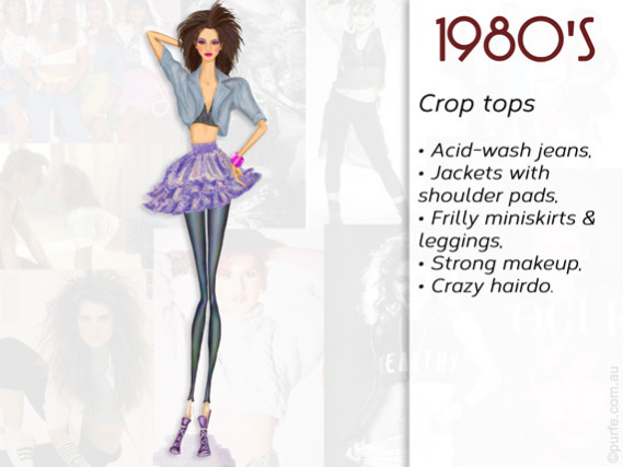 Fashion illustration How to wear crop top 1980s style