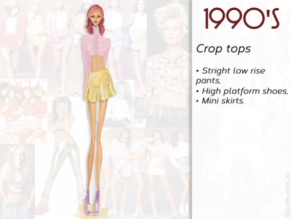 Fashion illustration How to wear crop top 1990s style