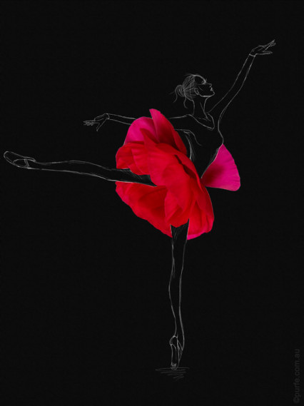 fashion sketch of ballerina with red anemone flower as a ballet skirt