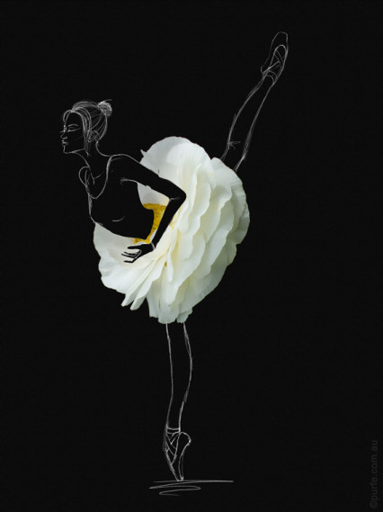 fashion sketch of ballerina with white anemone flower as a ballet skirt