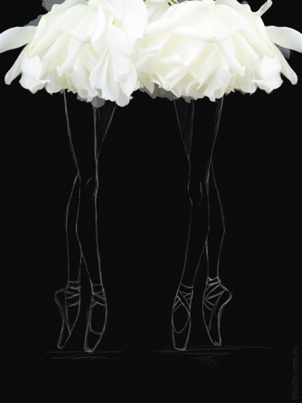 fashion sketch of ballerina on pointe shoes with white rose flower as a ballet skirt